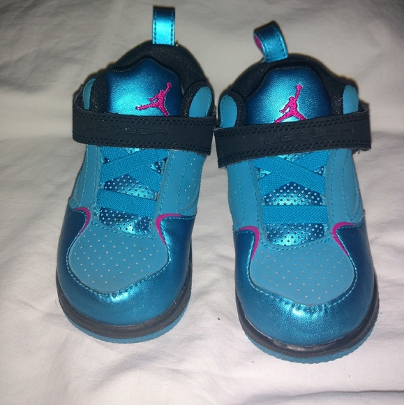 Baby Jordans Girls Shiny Blue And Pink